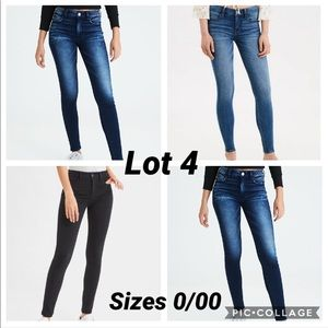 American Lot 4 Skinny Jeans Sizes 0/00